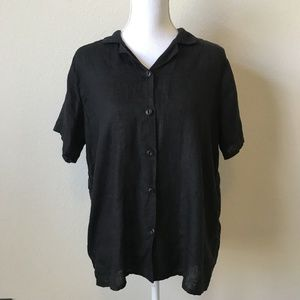 FLAX Solid Black Button Blouse 100% Linen Small